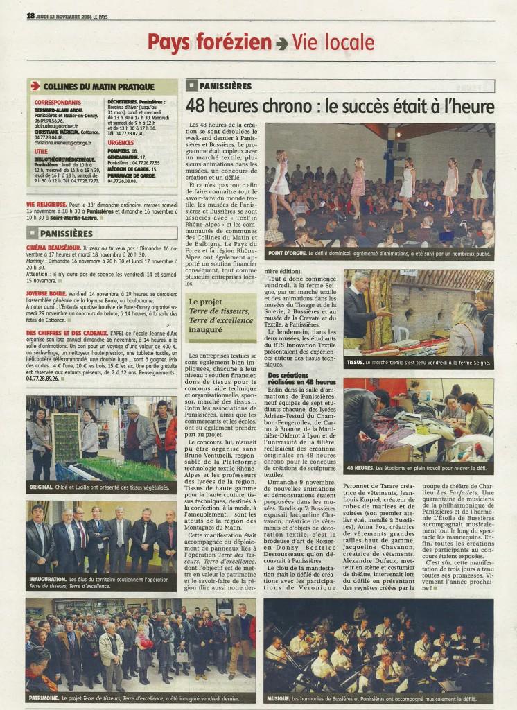 Publication dans le journal - Le Pays - Forez coeur de Loire